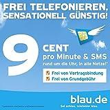 Original blau.de Prepaid SIM-Karte mit 10 Euro Guthaben (5 Euro Startguthaben und 5 Euro Aufladebonus) - Startpaket! 9 Cent in alle Netze! E-Plus-Netz