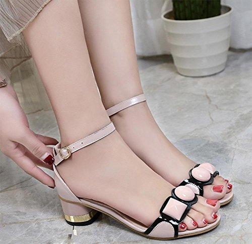 Chaussures d'été à bout ouvert à l'état brut avec le mot cingulaire sandales à talons sandales Mlle Luo Ma femme de paquet Pink