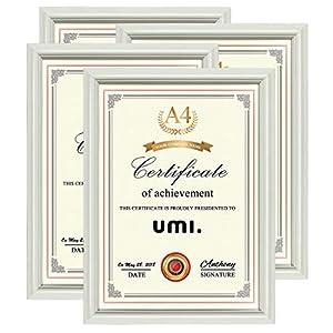 Umi. Essentials weißer A4 Bilderrahmen 4er Set für Urkunden Dokumenten zum Wandaufhängen oder Tischaufstellen