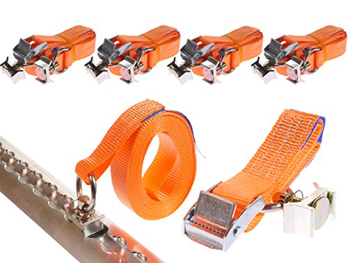 INDUSTRIE PLANET 4 x 250 daN kg 5 m 0,25t für Airlineschiene Klemmschloss mit Endbeschlag Spanngurte 2 teilig zweiteilig DIN EN 12195-2