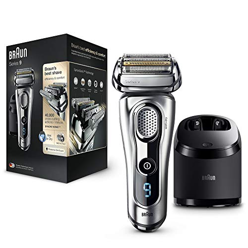 Braun Series 9 9290cc Electric Shaver for Men, Wet and Dry, Rechargeable and Cordless Foil Razor with Clean and Renew Charge Station, Pop Up Trimmer, Silver
