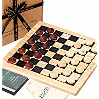 "Jaques of London Draughts Set - 12"" Wooden Checkers Board Game with Pieces - Wooden Draughts and Checkers - Quality Games for Children and Adults Since 1795"
