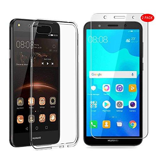 Mylboo Huawei Y5 2018 Hülle mit Bildschirmschutzfolie, [3 in 1] Transparent Weich TPU Handytasche + [2 Pack] 9H gehärtetes Glas Bildschirmschutzfolie Für Huawei Y5 2018