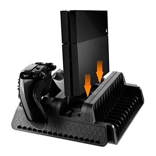 Gioco di supporto verticale con ventola di raffreddamento di raffreddamento stazione di ricarica e doppia porta caricatore e hub usb per playstation 4console controllers tp4–882