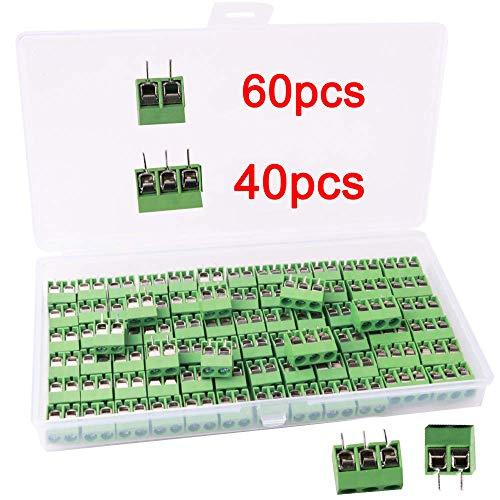 RUNCCI 80 Stücke 5mm 2 Pin / 3 Pin PCB Mount Screw Terminal Block Schraubklemme Steckverbinder Blau (2 Pin-60, 3 Pin-40)