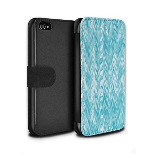 STUFF4 PU-Leder Hülle/Case/Tasche/Cover für Apple iPhone 4/4S / Verwischen/Gezähnt Muster / Teal Mode Kollektion (Iphone 4 Fälle, Teal)