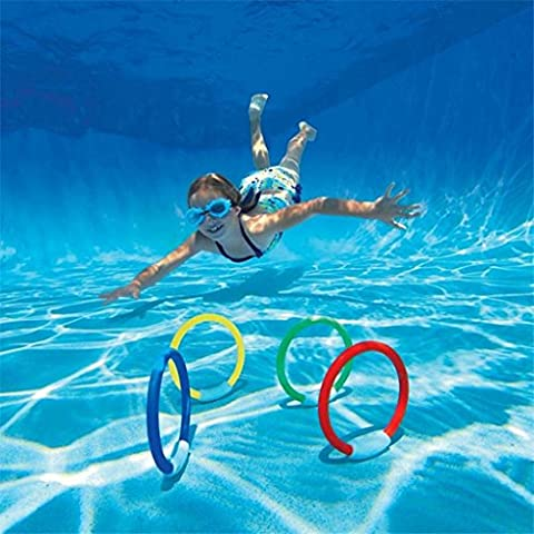 edealing(TM) 4 X Underwater Swimming Diving Sinking Pool Toy Rings For Kid Children