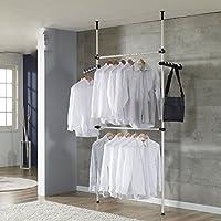 Garde-robe Téléscopique pour manteau et robe , hauteur et largeur ajustable (2 Poteux)