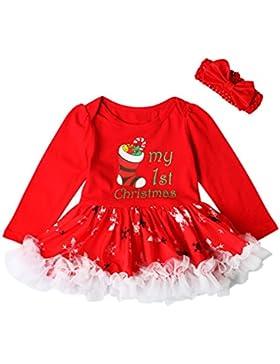 Chicolife Impostare neonato bambino ragazze primi Natale partito Romper Tutu vestito vestito manica lunga Bpdysuit...