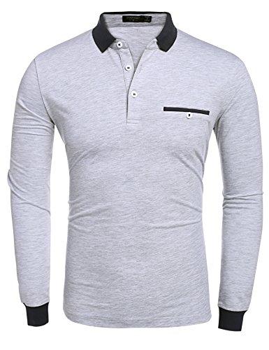 ZEARO Herren Poloshirts langarm Polohemd langarmshirt Freizeit T-Shirt Top M/L/XL/XXL Grau