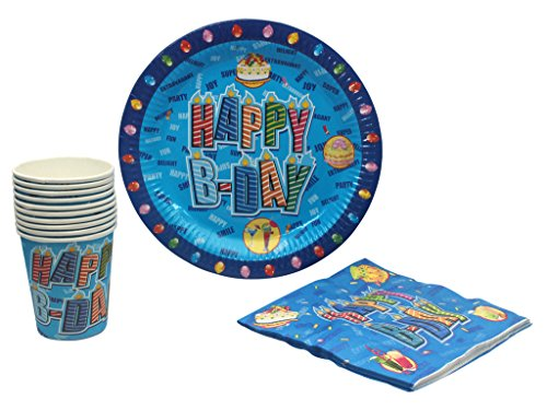 Birthday Party Supplies Set Plates , Cup & Napkin- Set of 10