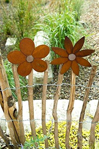 Metall Zaun Blume zum Aufstecken Edelrost Blüte Dekoration Staketenzaun – Blüte spitze Form rechts am Zaun