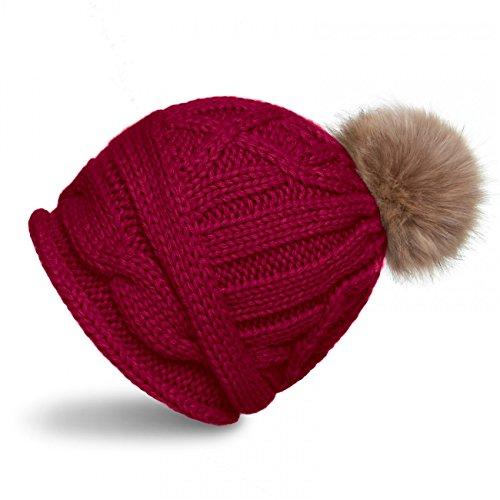 CASPAR MU091 Bonnet hiver femme - Beanie en tricot tressé avec pompon en fourrure Rouge