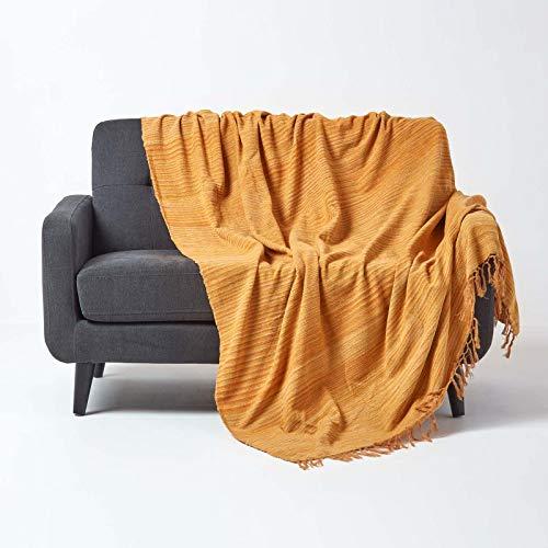 Homescapes Tagesdecke / Sofaüberwurf / Plaid Chenille in Terrakotta gestreift mit Fransen - 150 x 200 cm - handgewebt aus 100% reiner Baumwolle