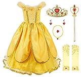 JerrisApparel Niña Princesa Belle Disfraz Tul Fiesta Trajes Vestido (7 años, Amarillo 1 con Accesorios)