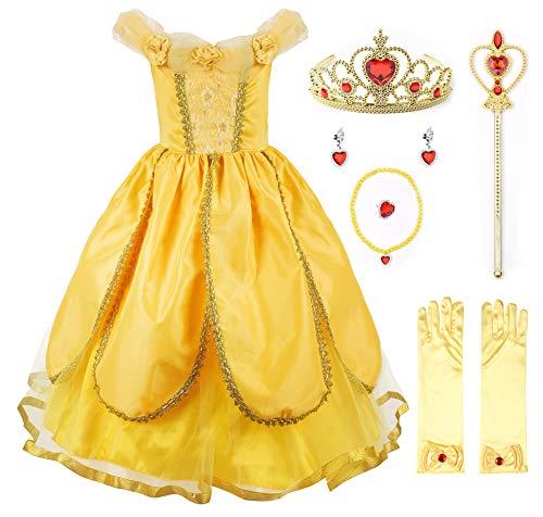 JerrisApparel Belle Kleider Kostüm Party Schick Ankleiden für Prinzessin Mädchen (5 Jahre, Gelb 1 mit - Mädchen Kostüm Kleider