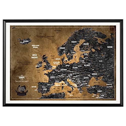 Personalisierte Europakarte mit Pinnwand, Kreative Design, Reise Karte 53 x 73cm, Europakarte mit Rahmen, Europakarte mit Pins zum Markieren von Reisen, Hergestellt in Europa - Europa Reise-karte Von