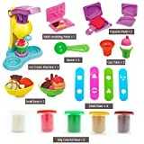 Ice Cream Maker Kitchen Creations Dough & Clay Tools playset Modeling Compound Collection Fun Factory Deluxe Set Shape Making Machine - Non-Toxic, Assorted Colors