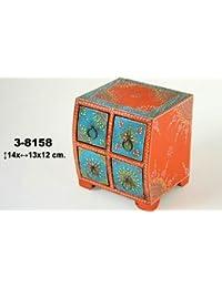 DonRegaloWeb - Joyero de madera con cajones de estilo étnico y diversos colores. Medidas: 14 cm x 13 cm x 12 cm