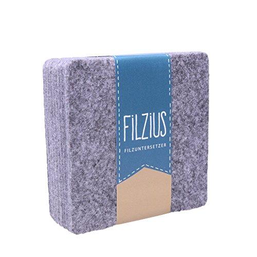 Filzius Filzuntersetzer 8er Set hochwertiges Recycling Filz - viereckig - quadratisch - Getränkeuntersetzer - Untersetzer für Gläser und Tassen - grau