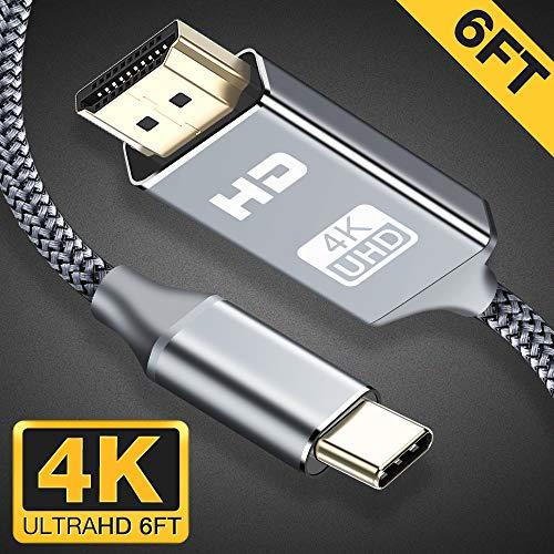 USB C auf HDMI Kabel (4K@60Hz), Snowkids Tpy C auf HDMI Kabel Kompatibel für iPad Pro 2018, MacBook, Galaxy S8 und weitere Geräte - Space Grau - 1.8m (Ipad Hdmi-kabel Mini)