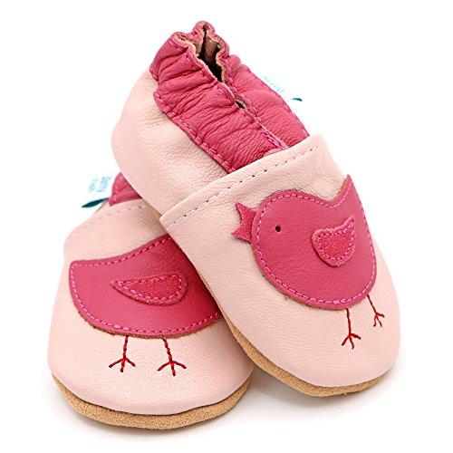 Dotty Fish - Zapatos de cuero suave para bebés - Niñas - Pájaros rosados - 27 soq5fOYkXG