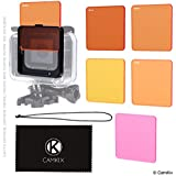 Diving Filter Kit For GoPro Hero 5 Black - 5 Filters (3x Red, 1x Magenta, 1x Yellow) - For Use With Waterproof Housing (Super Suit)