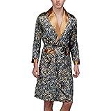 Sidiou Group Kimono Robe Morgenmantel Herren Satin Kimono Lang Satin Nachthemd Nachtw?sche Schlafanzug Bademantel Nacht Robe (Navy blau, L)