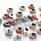 Cuentas espaciadoras de latón con diamantes de imitación, Rondelle, mezcladas, color níquel, aproximadamente 10 mm de diámetro, 4 mm de grosor, agujero: 5 mm