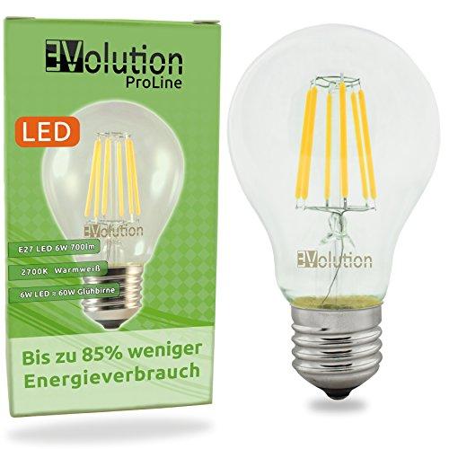 Evolution E27 6W 700lm | bombillas incandescentes de filamento LED | Lámpara de 230V AC 270 ° | Reemplazo de 60W | Lámparas E27 blanco caliente | Conjunto de 1