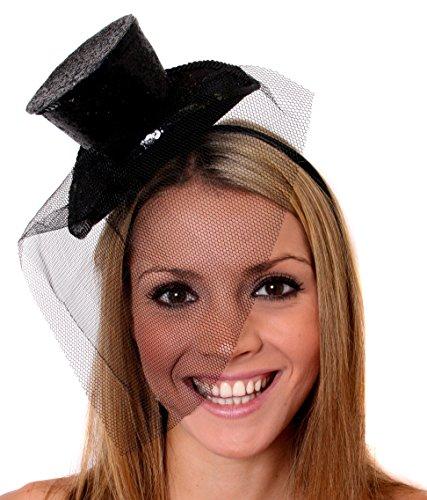 ILOVEFANCYDRESS Mini Glitter Zylinder Hut =MIT Netz AN Einem Haarreif= ERHALTBAR IN 8 SUPER Glitzernden Farben = ZUBEHÖR Fasching Karneval Party = ()