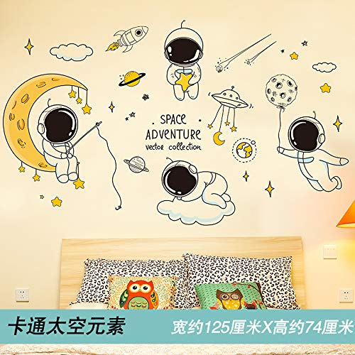 Cartoon Space Theme Wall Paste Wallpaper Self-Stick Children'S Room Bedroom Background Wall Layout Decorative Stickers 125X74Cm Cartoon Space Elements -