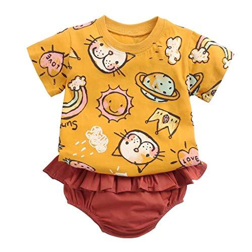Pwtchenty Babykleidung Kinder Kleinkind Mädchen Sommer Baby Bekleidungssets Kurzarm Cartoon Katze DruckT-Shirt Top +Shorts Set Kleidung Outfits Set Trainingsanzug