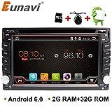 Eunavi in dash stereo con navigazione Android 6.0.1 Quad Core 2 G + 32G double DIN 6.2 in universale autoradio GPS Head Unit Bluetooth AM/FM/RDS controllo del volante specchio Link musica/video Player