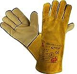 6 PAAR - Profi Arbeits-handschuhe Sicherheitshandschuhe für Schweisser MÜHLHEIM-II-SUPER gelb - Größe: 10