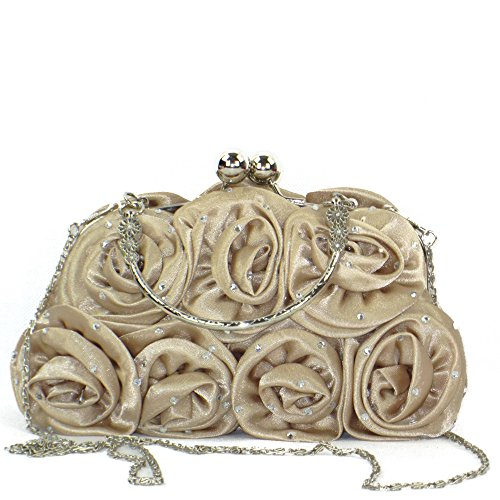 Zarla New Floral Ladies Clutch Bag Women Evening Party Prom Bridal Diamante Baguette (Champagne)