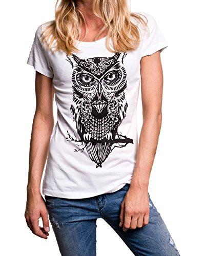 Maglietta gufo donna SWAG OWL T-shirt con stampa Bianco
