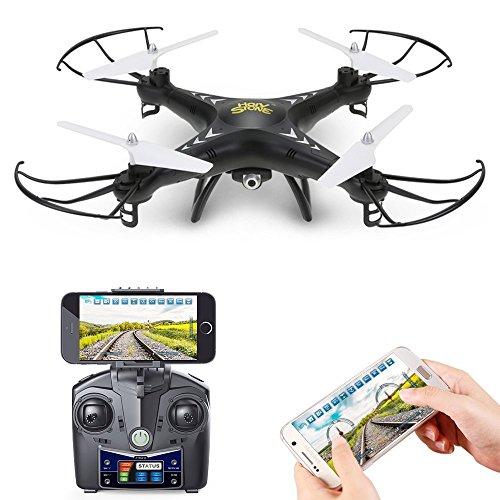Holy Stone HS110 FPV RC Drohne Quadrocopter mit 720P HD Kamera, WIFI Live Übertragung,RC Helikopter Quadrocopter ferngesteuert mit app Steuerung, HD camera, live video, One Key Start, automatische Höhenhalter,Schwerkraftsensor und Headless Modus RTF,drone für Kinder und Anfänger Farbe Schwarz