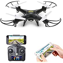 Holy Stone HS110 FPV Wifi Drohne mit 720P HD Live Video Kamera 2.4GHz 4CH 6-Axis Gyro RC Quadrocopter mit Höhenhaltung,Schwerkraftsensor und Headless Modus Funktion RTF, Schwarz