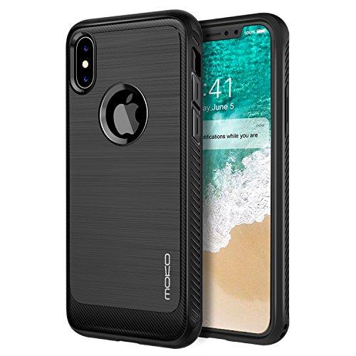 MoKo Coque Étui de iPhone X - en Prémium Fibre de carbone Ultra-Léger, Caoutchouc TPU Souple Anti-chocs pour Apple iPhone X / iPhone 10 (2017) (support le chargement sans fil), Noir Noir