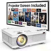 Proyector QKK, 3600 Lumens Mini Proyector con Pantalla Portatil, Video Proyector, Soporta Full HD 1080P, Conecta a Dispositivos HDMI VGA USB TF AV, Proyector Cine en Casa, Blanco.