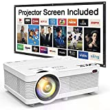QKK Projector [With Projection Screen], Mini Projector 3600 Lux, Video Projector Supports 1080P