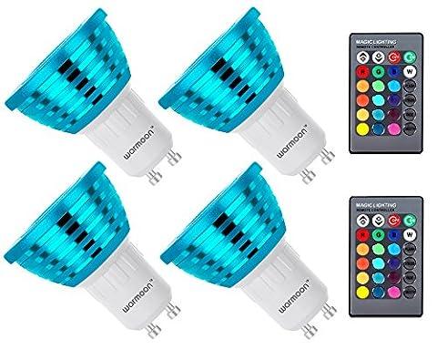 Warmoon GU10 LED Lampen Dimmbare RGBW RGB und Kaltweißem Licht 16 Farben Dimmbar 3W RGB Glühbirne LED Scheinwerfer Leuchtmittel mit Fernbedienung für Hause Bar Party Pack Stimmungslicht 4er Pack