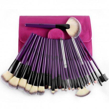 Set 26 pinceaux maquillage avec pochette violette