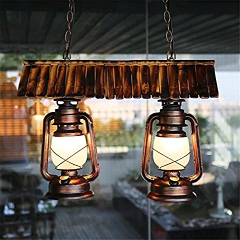 Lustre Suspension Lustre en fer forgé Pendentif Industriel Vintage Chambre Salon Salle à manger Double tête Lampes à pétrole Lampes de plafond Lustres