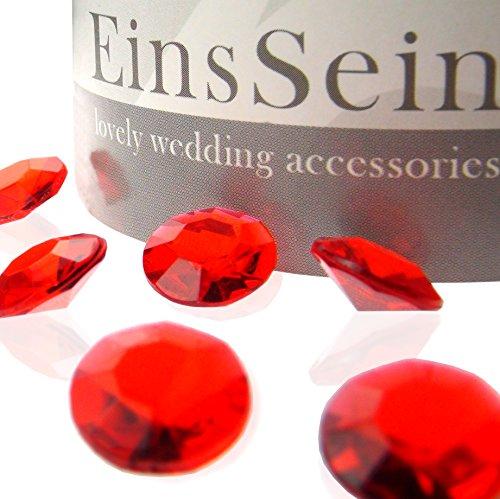 EinsSein 1000x Diamantkristalle 12mm rot Dekoration Streudeko Konfetti Tischdeko Hochzeit Diamanten Diamant Glas groß Geburtstag Rote Gläser