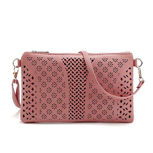 QPALZM Womens Crossbody Taschen Stickerei Loch Reißverschluss Schulter Handtasche Telefon Clutch Wallet Geldbörse A4
