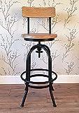 Vintage rustic retro pub bar kitchen metal wood stool with back
