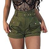 ZARU Damen Grün Slim Fit Shorts Hotpants, Frauen Mädchen Sommer Wide-Bein Kurze Hosen Sommer Mini Kurze Latzhose Overalls mit Gürtel und Taschen (XL, Grün)