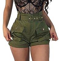 ZARU Damen Grün Slim Fit Shorts Hotpants, Frauen Mädchen Sommer Wide-Bein Kurze Hosen Sommer Mini Kurze Latzhose Overalls mit Gürtel und Taschen